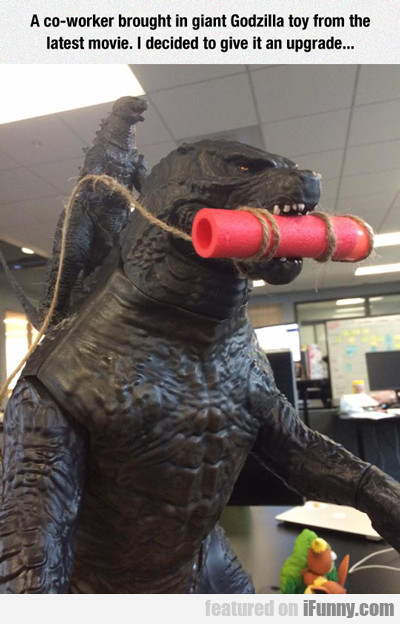 A Co-worker Brought In Giant Godzilla Toy...