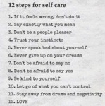 12 Steps For Self Care...