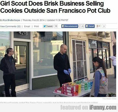 Girl Scout Does Brisk Business...