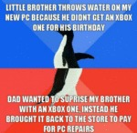 Little Brother Throws Water...