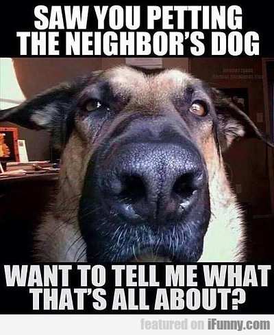Saw You Petting The Neighbor's Dog