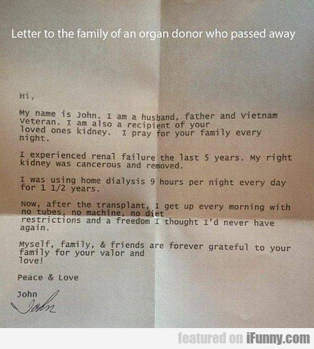 Letter To The Family Of An Organ Donor
