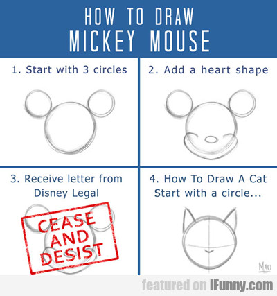 how to draw mickey mouse..