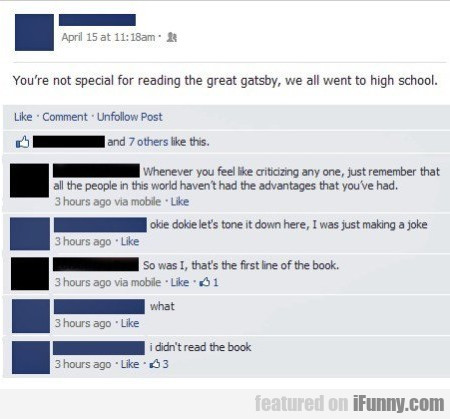 You're Not Special For Reading The Great Gatsby