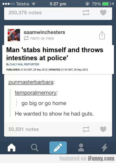 Man Stabs Himself And Throws Intestines At...