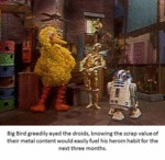 Big Bird Greedily Eyed The Droids...