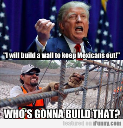 i will build a wall to keep mexicans out...