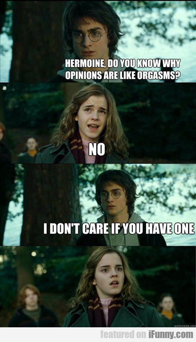 Hermoine, Do You Know Why Opinions Are Like...