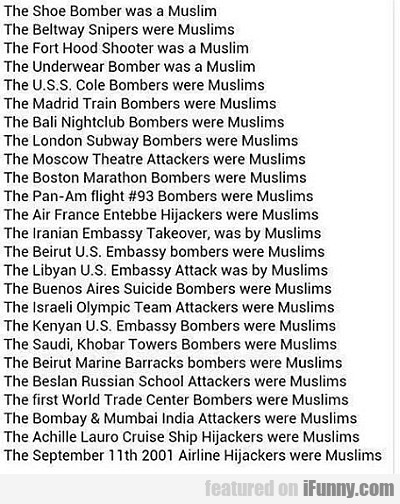 The Shoe Bomber Was A Muslim...