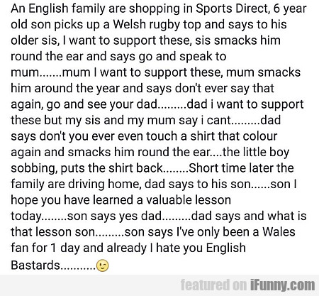 An English Family Are Shopping In Sports Direct