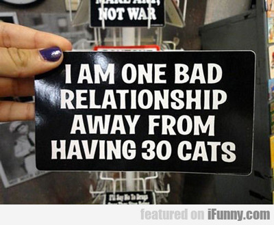I Am One Bad Relationship Away...