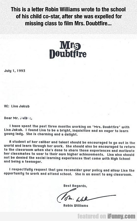 This Is A Letter Robin Williams Wrote To The...