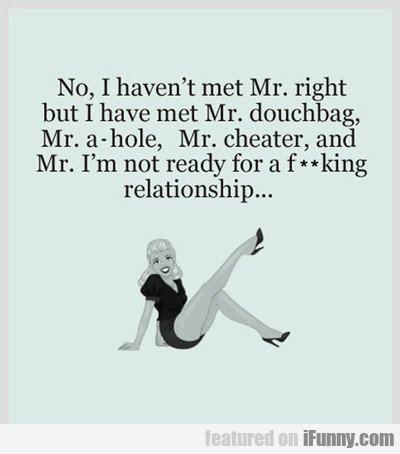 No, I Haven't Met Mr. Right...