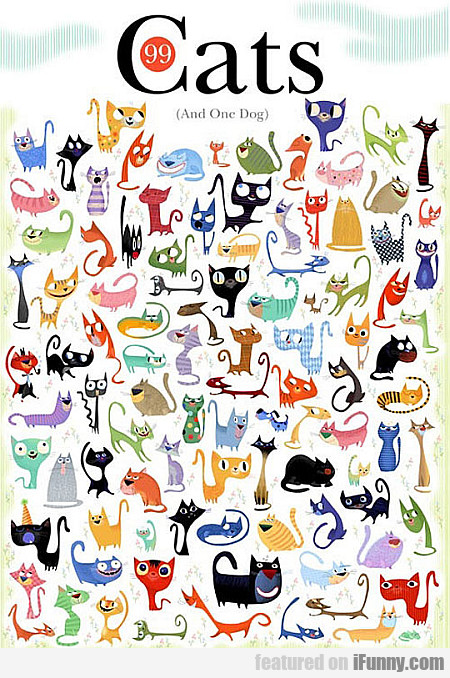99 Cats & One Dog. Can You Find The Dog?