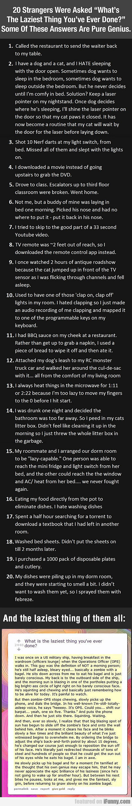 20 Strangers Were Asked What's The Laziest Thing..