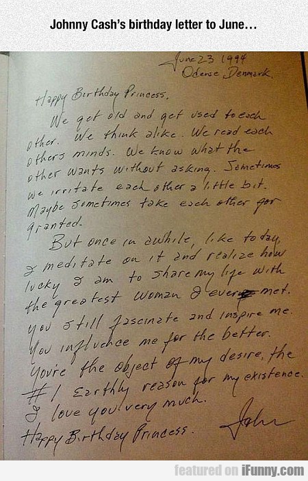 Johnny Cash's Birthday Letter To June...