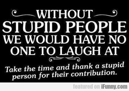 Without Stupid People We Wouldnt Have No One
