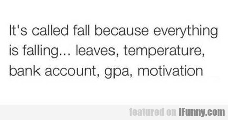 It's Called Fall Because Everything Is Falling...