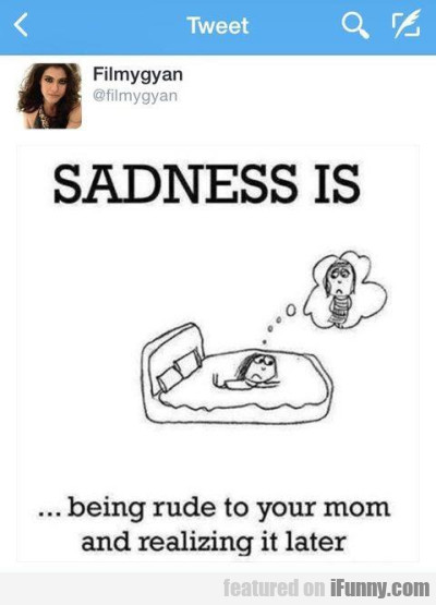 Sadness Is Being Rude To Your Mom And Realizing It