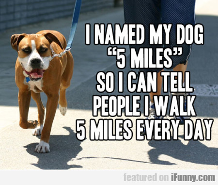I Named My Dog 5 Miles So I Can Tell