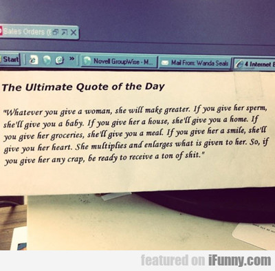 The Ultimate Quote Of The Day...