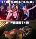 My Weekends Five Years Ago Vs. Now...