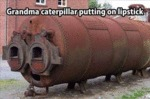 Grandma Caterpillar Putting On Lipstick...