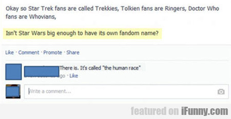 Okay, So Star Trek Fans Are Called Trekkies...