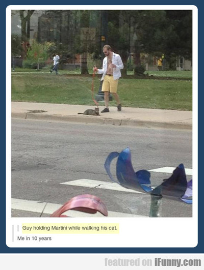 Guy Holding Martini While Walking His Cat...