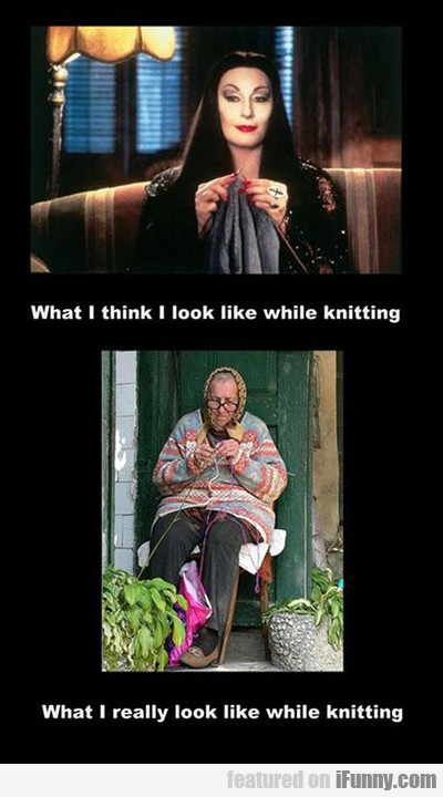 What I Think I Look Like While Knitting...