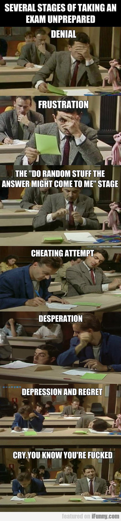 several stages of taking an exam...