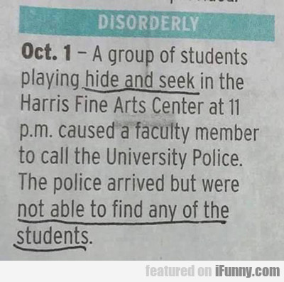 A Group Of Students Playing Hide And Seek...