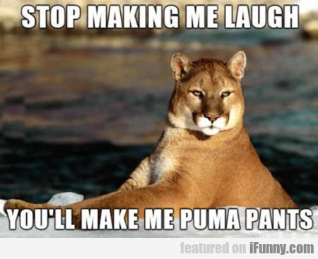 Stop Making Me Laugh You Ll Make Me Puma Pants