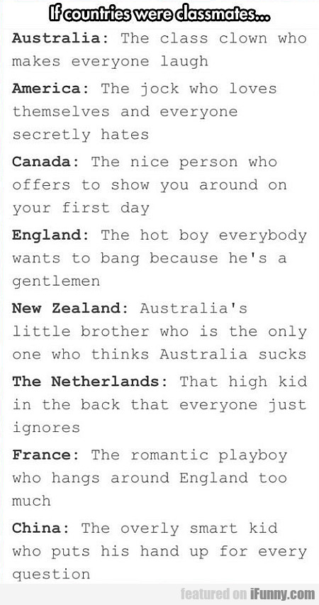 If Countries Were Classmates...