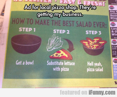 ad for local pizza shop...