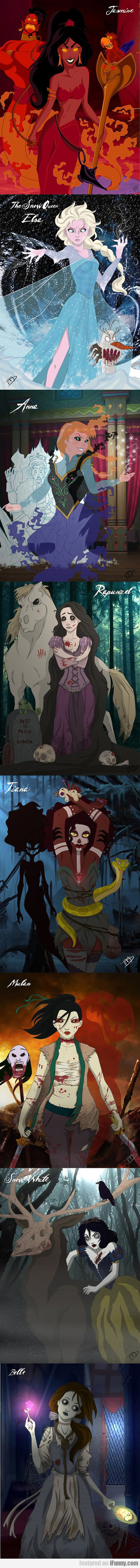Creepy Zombie Disney Princesses