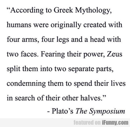 According To Greek Mithology, Humans Were...
