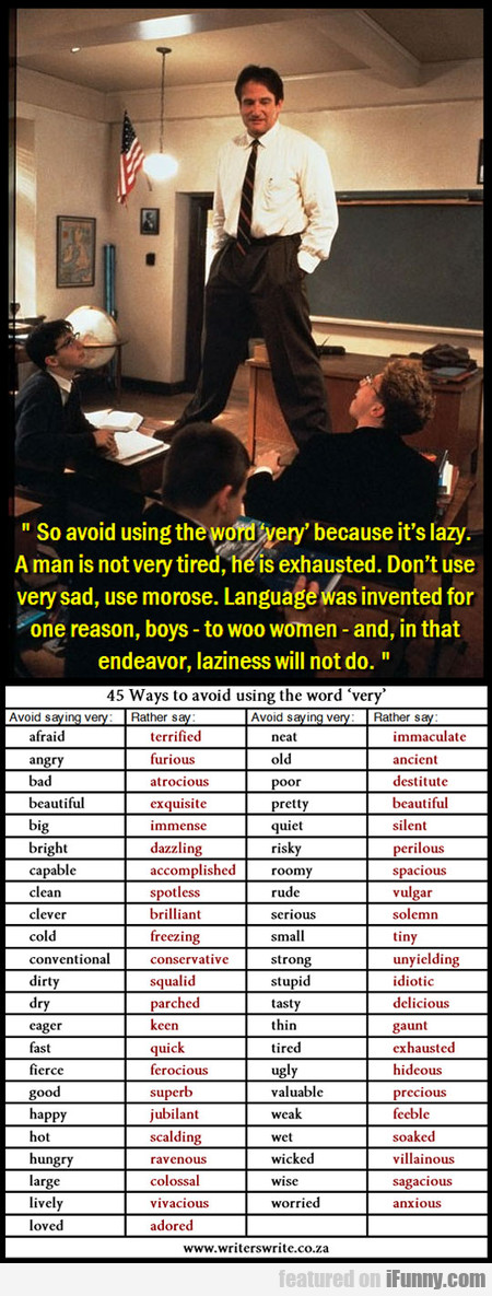 Robin Williams: So Avoid Using The Word Very