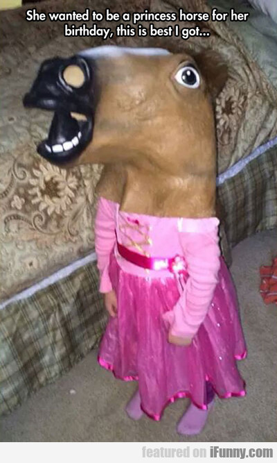 she wanted to be a princess horse for her birthday
