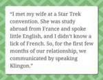I Met My Wife At A Star Trek Convention, She Was..