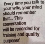 Every Time You Talk To Your Wife...