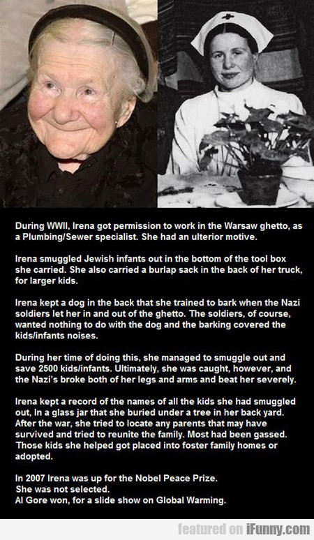During Ww2, Irena Worked In The Warsaw Ghetto...