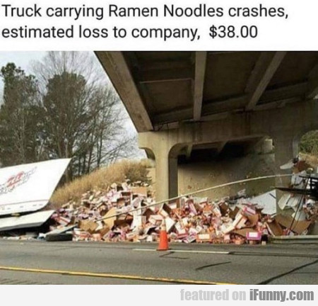 Truck Carrying Ramen Noodls Crashes