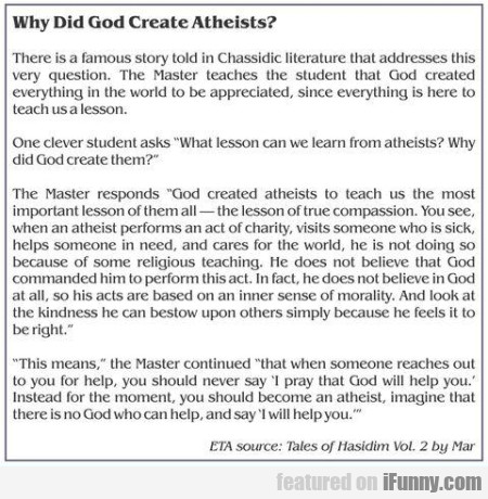Why Did God Create Atheists