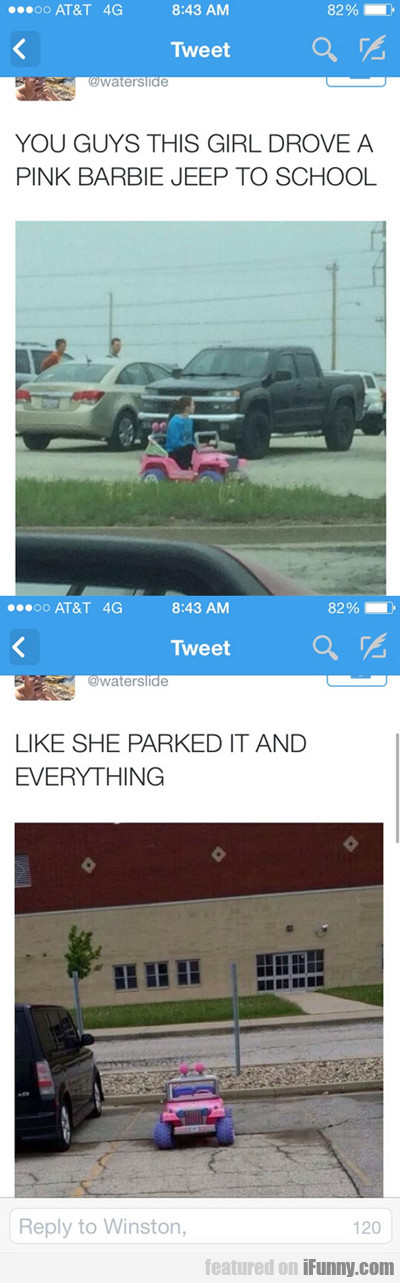 You Guys, This Girl Drove A Pink Barbie Jeep...