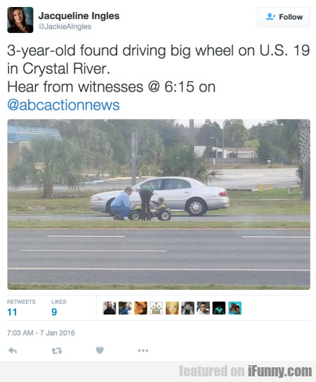 3 year old found driving