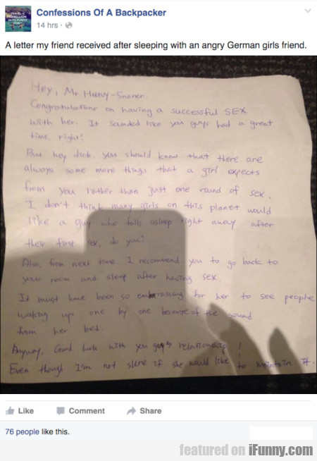 A Letter My Friend Received After Sleeping