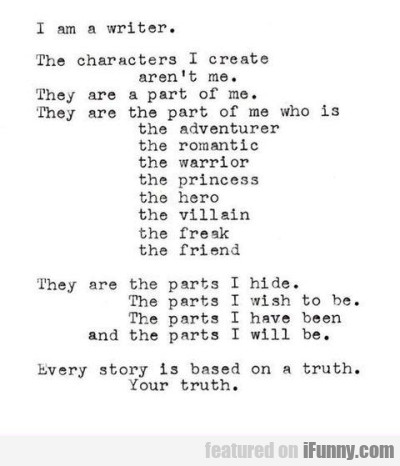 I Am A Writer The Characters I Create Arent Me