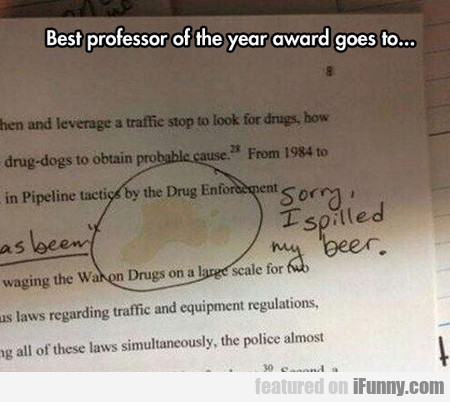 Best Professor Of The Year Award Goes To...