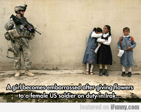 A Girl Becomes Embarrassed After Giving Flowers...